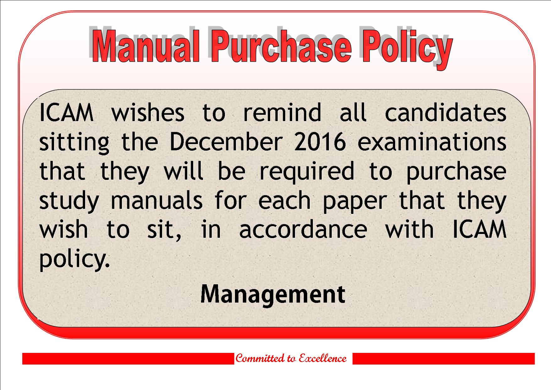 2016 Manual policy